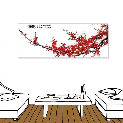 24mama掛畫 單聯式 中國花卉 水墨風無框畫 30X80cm-紅梅