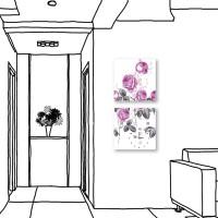 24mama掛畫 二聯式 簡約 花卉 手繪風 時鐘掛畫 無框畫 30X30cm-玫瑰