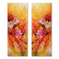 24mama掛畫  二聯式 花卉 油畫風 喜氣 無框畫 30x80cm-艷麗