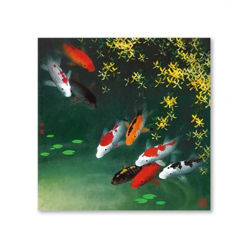 24mama掛畫 單聯式 鯉魚 無框畫 30x30cm-池塘