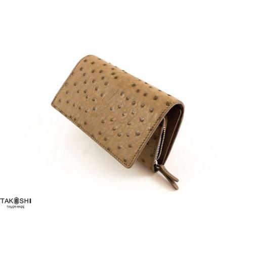 真皮皮件 鴕鳥皮 中夾 女用皮夾 零錢包 手拿包