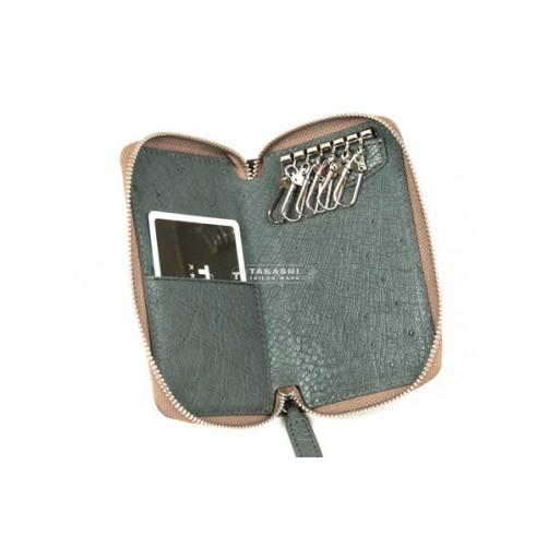 可愛女用 日式零錢包 手工皮件 6匙拉鏈式鑰匙 信用卡層 零錢包 客製化 免費燙印