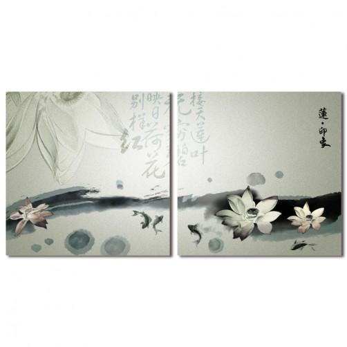 二聯式 方型 無框畫 掛鐘 壁鐘 油畫布 鑽石布掛畫 壁畫 家飾品-蓮印象 30x30cm