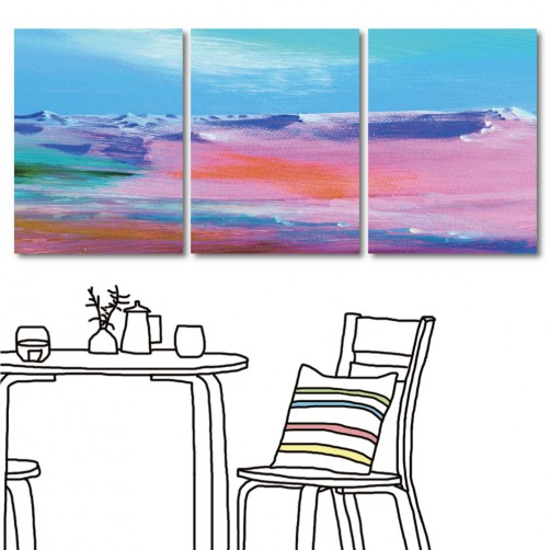 抽象掛畫 無框畫 咖啡廳裝潢 三聯式 30x40cm-粉紅世界