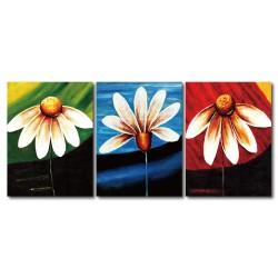 【123點點貼】 時尚壁貼 無框畫壁貼 家具飾品 三聯式 30x40cm-幻花