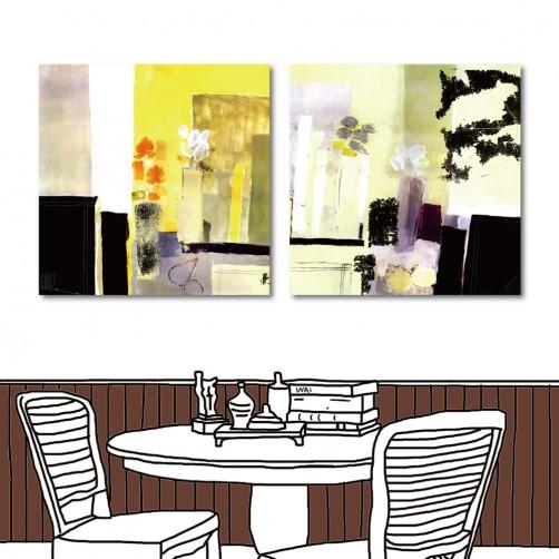 24mama 手繪風無框畫 家飾品 二聯式 方形 30x30cm-歐風花