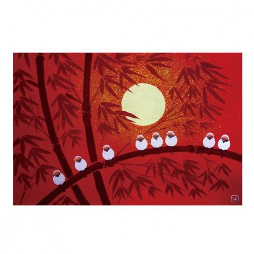 24mama 單聯式時尚無框畫 橫幅 掛畫 40x60cm-月亮與鳥