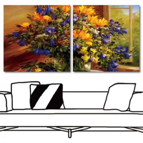 藝術無框畫 掛畫花卉 家居掛畫 家居裝潢 民宿布置 二聯式 方形 30x30cm-黃藍色的美麗