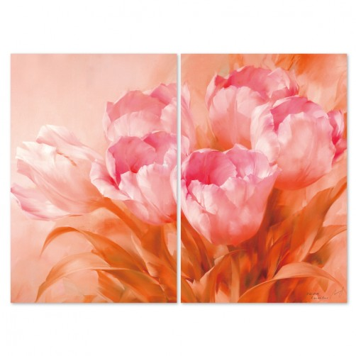 24mama 二聯式時尚無框畫  橫幅 掛畫40x60cm-粉紅花卉