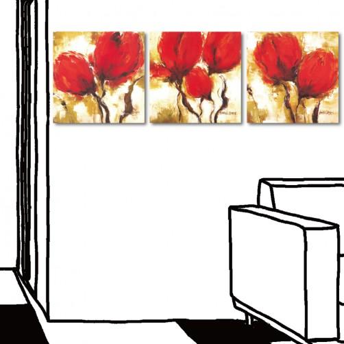【123點點貼】三聯式 方型 便宜掛畫 壁貼 牆貼 窗貼 家居裝潢-紅艷30x30cm
