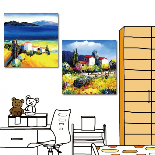 藝術無框畫 美學365 小孩房裝潢 圖書館 家飾品 流行家飾 二聯式 方形 30x30cm-藍天童話