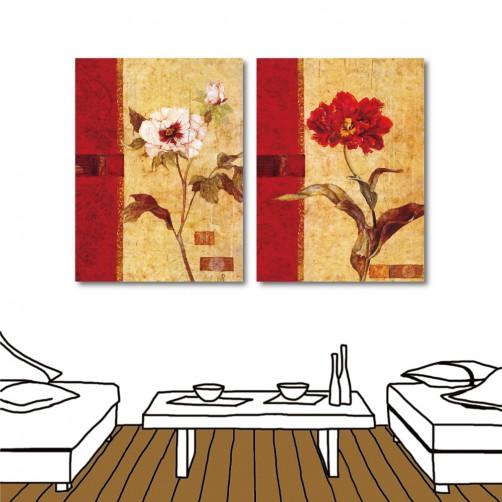 24mama 藝術無框畫 家居掛畫 掛畫花卉 流行家飾 室內裝潢 兩聯式 直幅 30x40cm-古典花