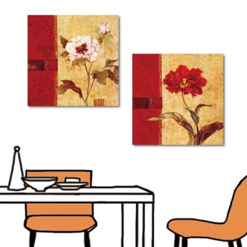 藝術掛畫 無框畫 無框掛畫 二聯式 方形 30x30cm-古典花
