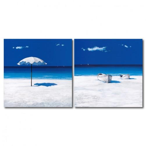 24mama 藝術無框畫 家居掛畫 二聯式 方形 30x30cm-白沙灘