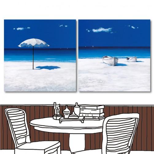 【123點點貼】24mama 無框畫壁貼 壁貼 家居壁貼 兩聯式 方形 30x30cm-白沙灘