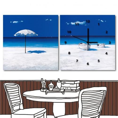 24mama 藝術無框畫 掛畫 家居掛畫 二聯式 方形 30x30cm-白沙灘