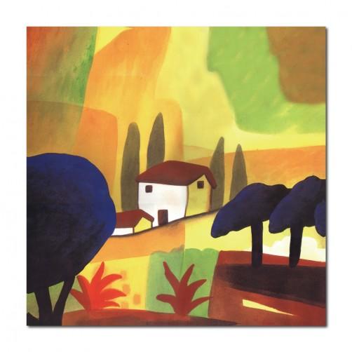 單聯式 方形 小孩房裝飾 無框畫 親子民宿裝潢 幼稚園佈置 家飾品 圖書館 抽象-城市-30x30cm