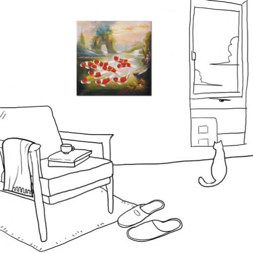 24mama掛畫  單聯式  鯉魚 九魚圖 風水 招財 錦鯉 室內 客廳 辦公室 無框畫 30X30cm