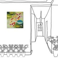 24mama掛畫 單聯式 無框畫 招財進寶 吉祥如意 風水 鯉魚 錦鯉 辦公室 無框畫 荷花 蓮花 30x30cm