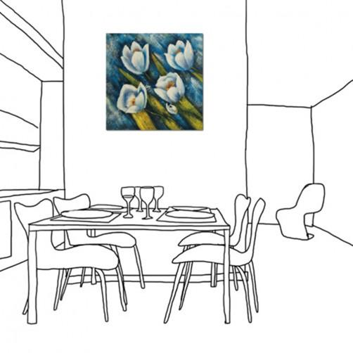 24mama掛畫  單聯式 藝術抽象 花卉 油畫風無框畫 藍色 花朵 30X30cm 琉璃