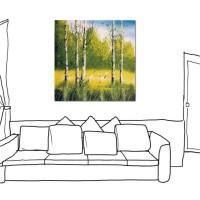 24mama掛畫 單聯式 風景 手繪風 無框畫 藝術無框畫 夏天 四季 夏季 森林 樹木30x30cm-季節-1