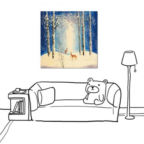 24mama掛畫 單聯式 風景 無框畫 手繪風 藝術無框畫 冬天 四季 下雪 雪地 雪景 森林 麋鹿  樹木 30x30cm-季節-3