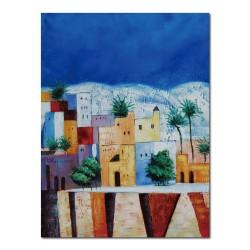24mama掛畫 單聯式 建築 繽紛 房子 歐洲 童話 地中海 色彩 彩虹 歐洲 椰子樹 夢幻  彩色 抽象油畫風 無框畫 30X40cm-童話小鎮