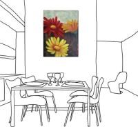 24mama掛畫 單聯式 油畫 掛畫 無框畫 花卉 花朵 三朵花  藝術裝飾 可愛 30X40cm 花朝