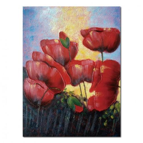 24mama掛畫 單聯式 油畫 掛畫 無框畫 花卉 紅花 紅色 花朵  藝術裝飾 30X40cm 秀麗