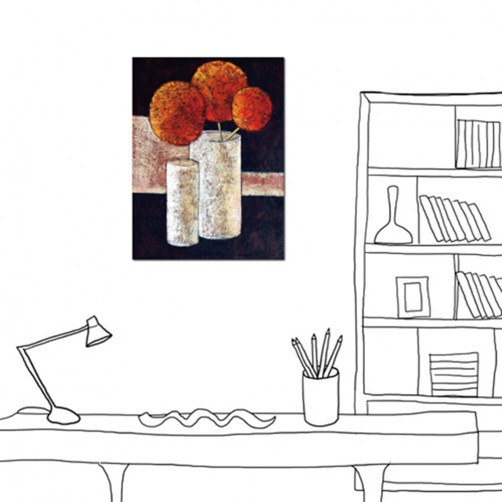 24mama掛畫 單聯式 紅色 花卉 花朵 橘紅 裝飾 杯子 花瓶 靜物 圓球 油畫風 現代藝術 無框畫 30X40cm 花絮
