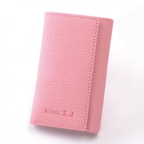 可愛女用 日式零錢包 手工皮件 6匙拉鏈式鑰匙 信用卡層 零錢包 鈔票夾 客製化 免費燙印