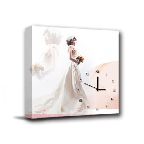 單聯式 方形 客製化 紀念品 長輩禮 紀念日 家居裝飾 辦公室 民宿 送禮 無框畫 掛鐘-新婚-30x30cm