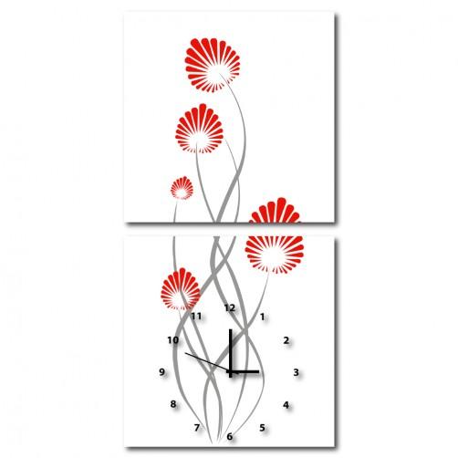 二聯式 方型 簡約 無框畫 掛鐘 壁鐘 客廳 民宿 餐廳 飯店 花卉-火花 30x30cm