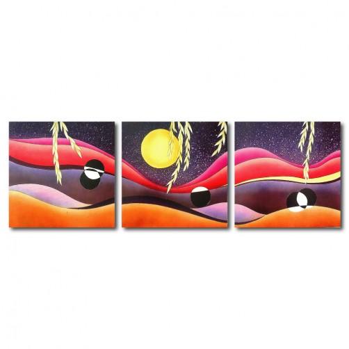 三聯式 方型 沙漠 月亮 鮮明 咖啡廳 民宿 送禮-沙漠印象30x30cm