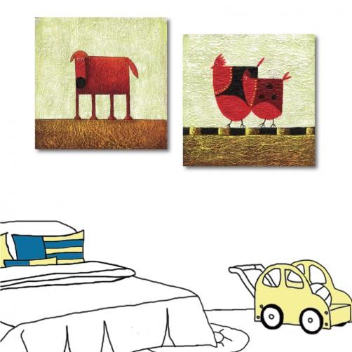二聯式 方形 無框畫 動物 狗 雞 小孩房裝飾 幼稚園裝潢 童趣掛畫 補習班 -農園-30x30cm