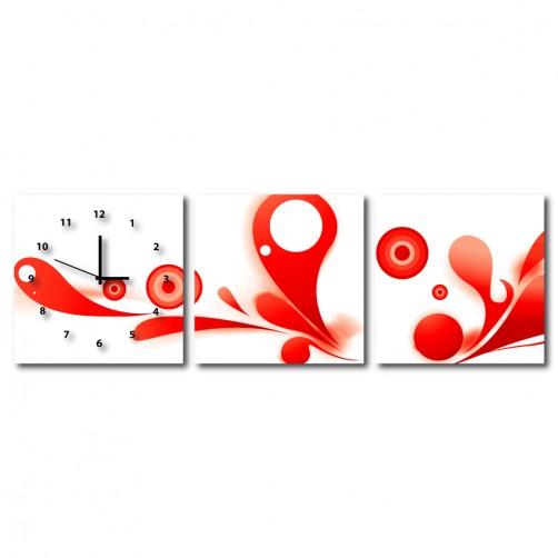 三聯式 方型 紅色 壁畫 掛鐘 新居落成 家居-紅色漣漪30x30cm
