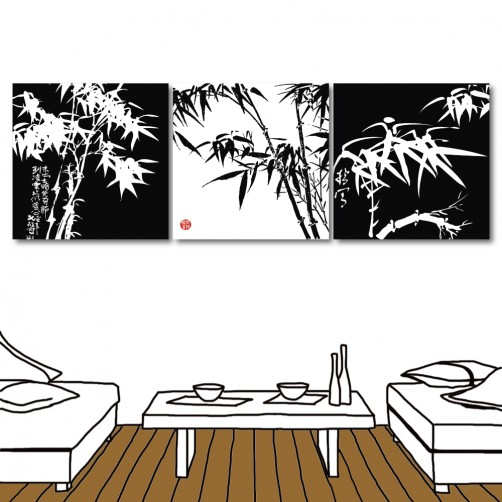 竹子掛畫 民宿飯店裝飾 中國風 三聯式 30x30cm-福竹