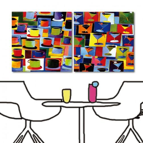 餐廳裝潢 咖啡掛畫 職業 二聯式 方型 30x30cm-印象咖啡