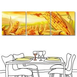 【123點點貼】壁貼 牆貼 家居裝飾 三聯式 方形30x30cm-黃金玉米田