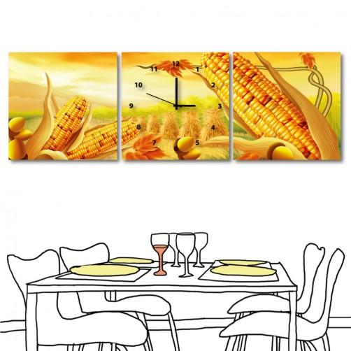 餐廳掛畫 無框畫 餐廳裝潢 三聯式 方形30x30cm-黃金玉米田