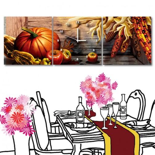 餐廳掛畫 無框畫 掛鐘 三聯式 方形30x30cm-南瓜季