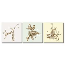 【123點點貼】簡約風壁貼 花卉壁貼 三聯式 30x30cm-鳥語花香