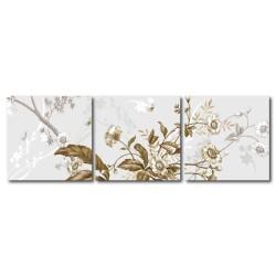 【123點點貼】簡約花卉壁貼 無痕壁貼 三聯式 30x30cm-花物