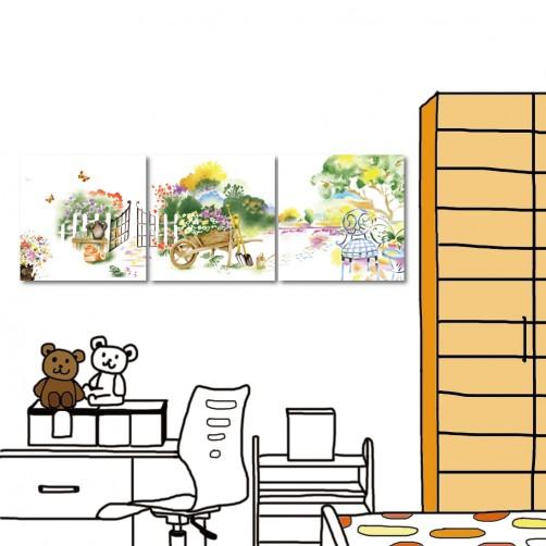 掛畫 無框畫 餐廳 民宿 三聯式 方形30x30cm-轉角遇到愛