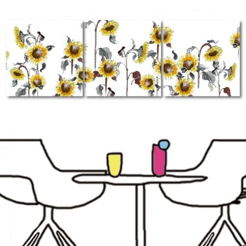 【123點點貼】 壁貼 壁飾 無框畫壁貼 居家掛畫 三聯式 方形30x30cm-水彩向日葵