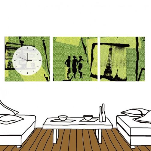 24mama 三聯式無框畫 時鐘無框畫 餐廳居家 30X30cm-現代風格