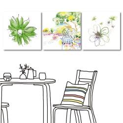 【123點點貼】無框畫壁貼 家飾品 掛畫 美學365 三聯式 30x30cm-簡約小花