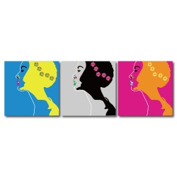 【123點點貼】無框畫壁貼 民宿裝潢 三聯式 30x30cm-美麗女人