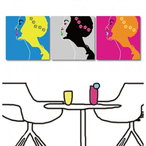 掛畫 現代風無框畫 家飾品 三聯式 30x30cm-美麗女人