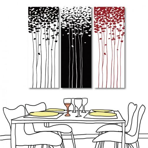 【123點點貼】24mama 無框畫壁貼 咖啡廳 室內裝飾 三聯式 30x80cm-花子